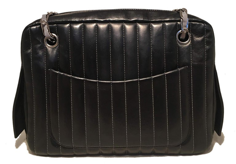Chanel Mademoiselle Ligne Vertical Quilted Black Leather Camera Bag In Excellent Condition For Sale In Philadelphia, PA