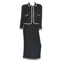 Rare Chanel Boucle Signature Monochrome Maxi Skirt Suit with CC Logo Buttons