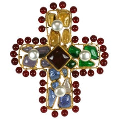 Rare Chanel Byzantine Cross with Ruby Bead Surround