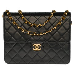 Rare Chanel Classic 22cm shoulder bag in black quilted lambskin with GHW