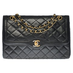 Rare Chanel Classic Double Flap shoulder bag in black quilted leather and GHW