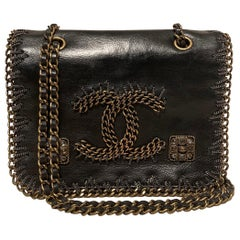 RARE Chanel Gripoix Beaded Black Leather Chain Trim Classic Flap Bag