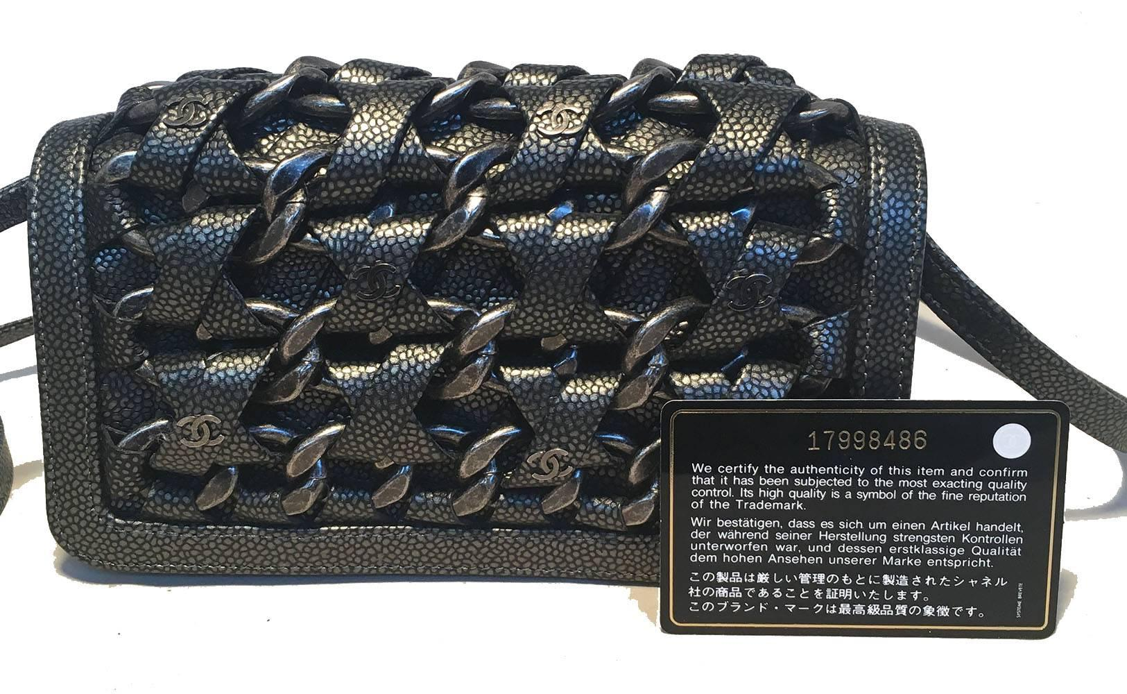 d7384e8a7f0e Chanel Gunmetal Caviar Leather and Chain Woven Classic Flap Shoulder Bag  For Sale at 1stdibs