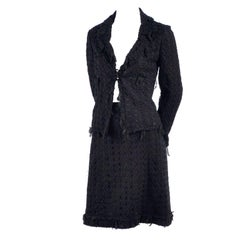 Chanel Jacket and Skirt Suit in Black Wool Tweed and Mesh With Ribbon Trim