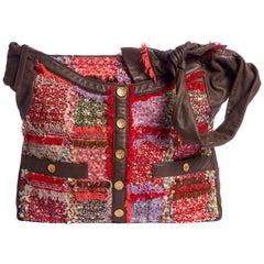 Rare Chanel Large Tweed Leather Boucle Jacket Bag