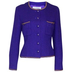 Rare Chanel Lesage Fitted Purple Tweed Chain Trimmed Jacket