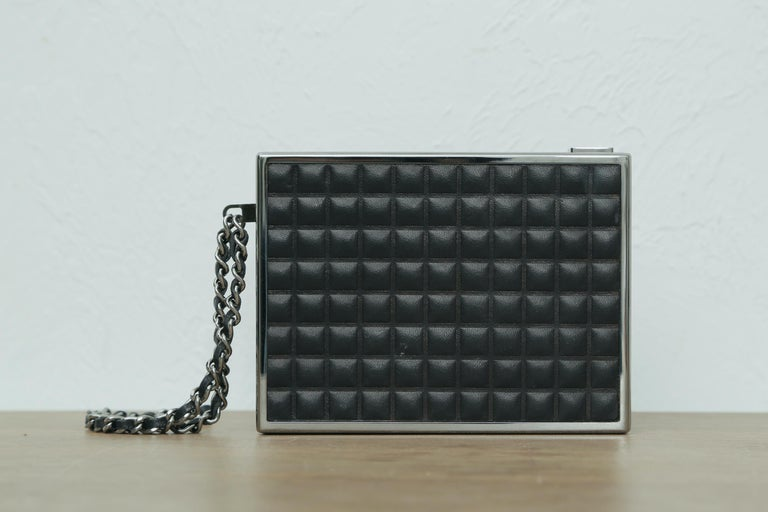 Rare Chanel Limited Edition 2004 Cigarette Black Lambskin Leather Clutch For Sale 1