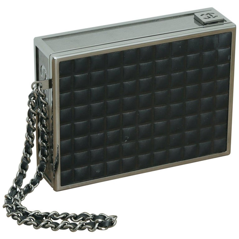 Rare Chanel Limited Edition 2004 Cigarette Black Lambskin Leather Clutch For Sale