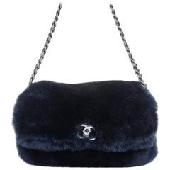 Rare Chanel Midnight Blue 'Orylag' Fur Evening Bag with Triple Shoulder Straps