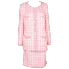 Rare Chanel Pink Fantasy Tweed Jacket Blazer Skirt Suit Supermarket Collection