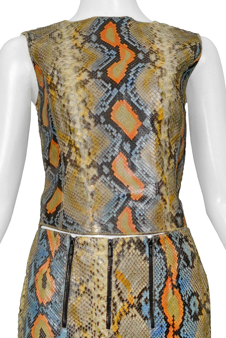 Rare Chanel Python Leather 2000 Runway Top & Pants Ensemble In Excellent Condition For Sale In Los Angeles, CA