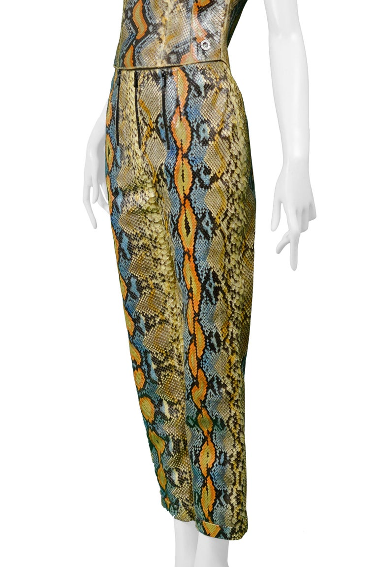 Rare Chanel Python Leather 2000 Runway Top & Pants Ensemble For Sale 1