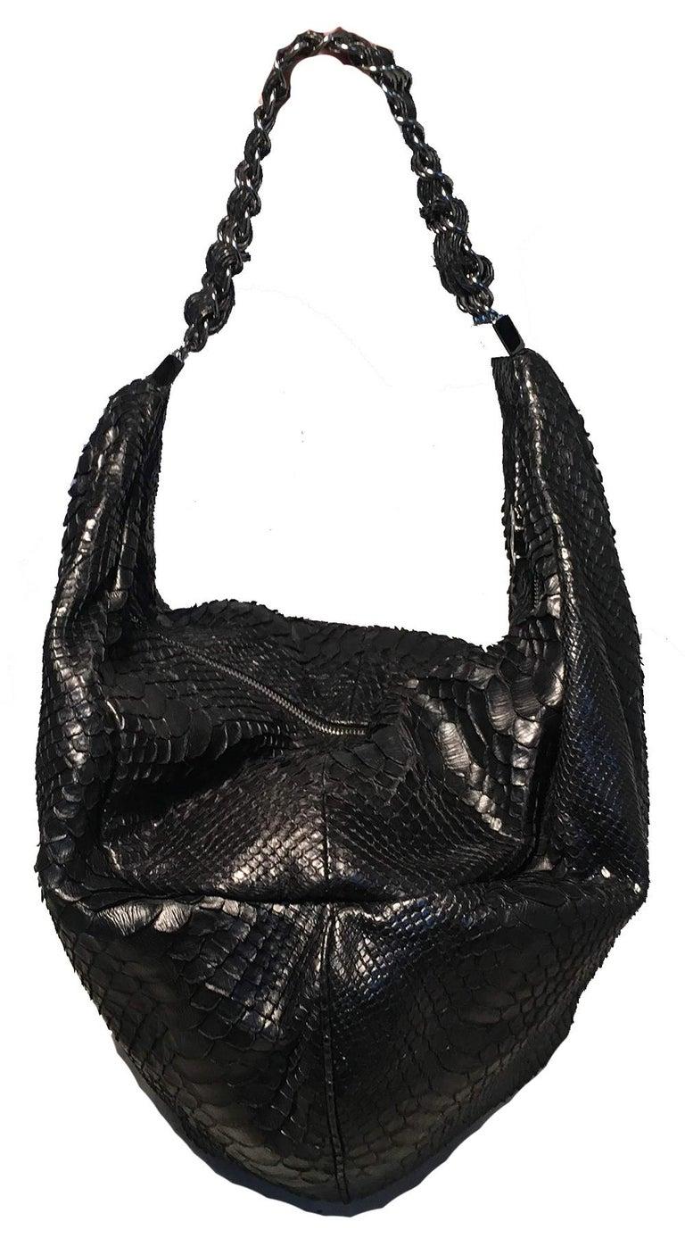 3a04c9484709 RARE Chanel Runway Black Python Snakeskin Hobo Shoulder Satchel Bag In  Excellent Condition For Sale In