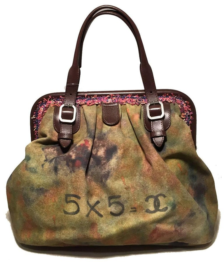 Brown Chanel Runway Graffiti Stenciled On The Pavements Bowling Bag For Sale