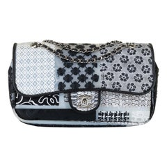 Rare Chanel Sac Timeless Decorated with Black, White, Grey Chanel Fabric Motifs