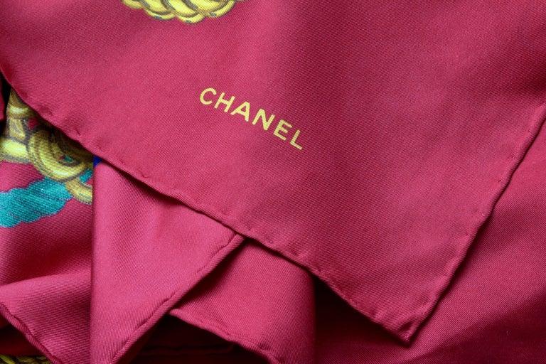 Rare Chanel Silk Twill Scarf Shawl CC Logo Coin Motif Massive 40in  For Sale 5