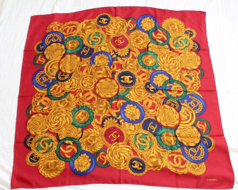 Brown Rare Chanel Silk Twill Scarf Shawl CC Logo Coin Motif Massive 40in  For Sale