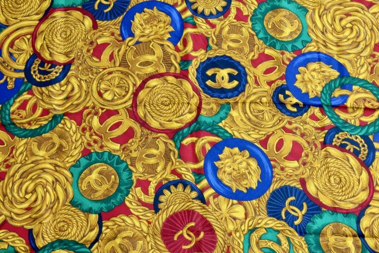 Women's or Men's Rare Chanel Silk Twill Scarf Shawl CC Logo Coin Motif Massive 40in  For Sale