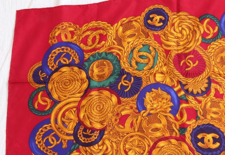 Rare Chanel Silk Twill Scarf Shawl CC Logo Coin Motif Massive 40in  For Sale 1
