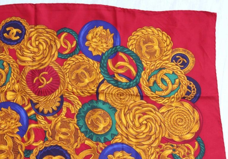 Rare Chanel Silk Twill Scarf Shawl CC Logo Coin Motif Massive 40in  For Sale 2
