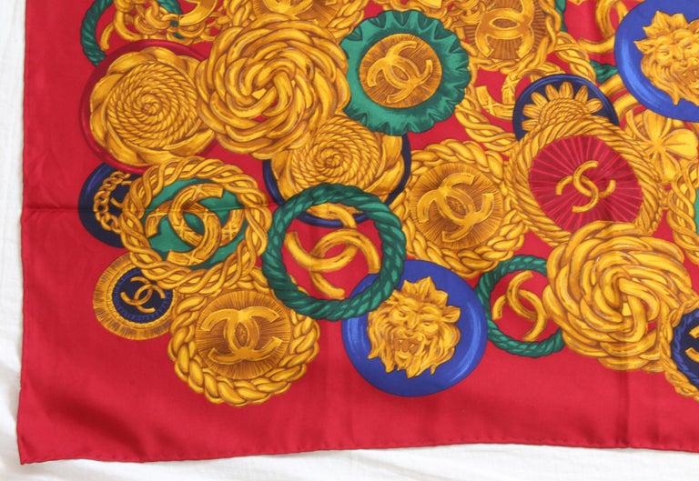Rare Chanel Silk Twill Scarf Shawl CC Logo Coin Motif Massive 40in  For Sale 3