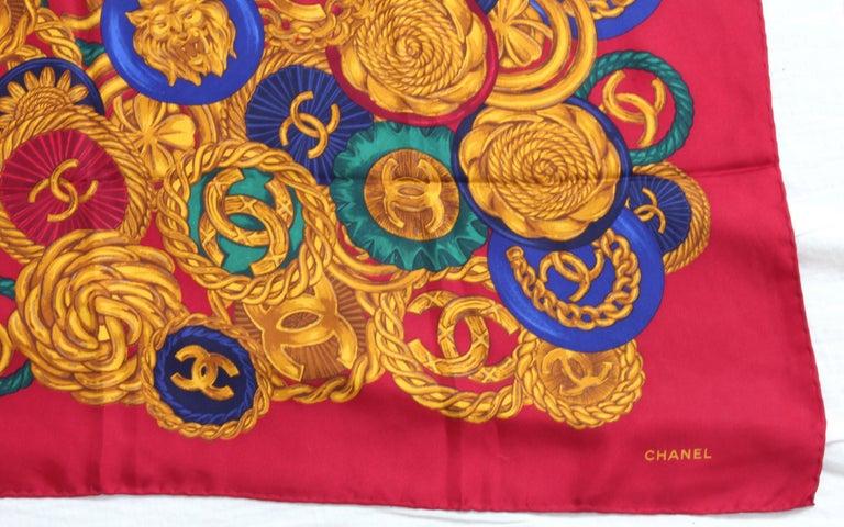 Rare Chanel Silk Twill Scarf Shawl CC Logo Coin Motif Massive 40in  For Sale 4