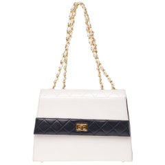 Rare Chanel Trapeze bicolor white/blue navy handbag in leather with its wallet