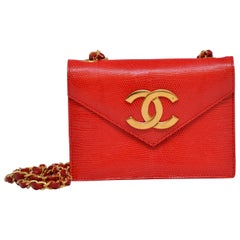 Rare Chanel Vermilion Red Lizard Mini Handbag Large Gold Plated CC