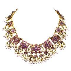 Rare Chanel Vintage 1990's Purple Gripoix & Faux Pearl Statement Necklace
