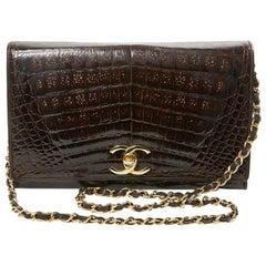 Rare Chanel Vintage Shiny Brown Crocodile Timeless Bag
