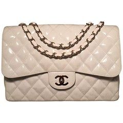 RARE Chanel White Glitter Patent Leather Maxi Classic Flap Shoulder Bag