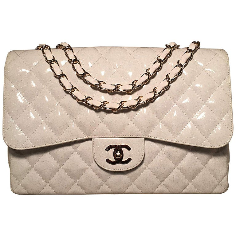 RARE Chanel White Glitter Patent Leather Maxi Classic Flap Shoulder Bag For  Sale at 1stdibs fd015f17d1264