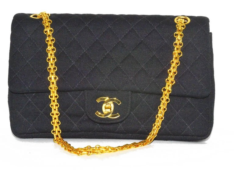 Rare French Chanel classic wool flap bag with Matalesse chain in pristine condition.
