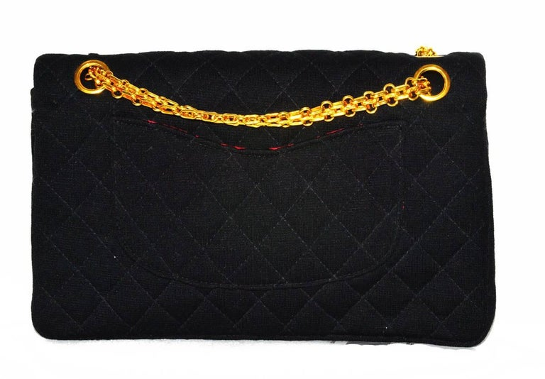 Black Chanel Wool Classic Flap Bag For Sale