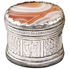 Rare Charles I Silver Box with an Agate Set Lid, circa 1640