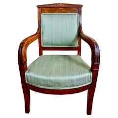 Rare Charles X Mahogany Youth or Child's Upholstered Armchair