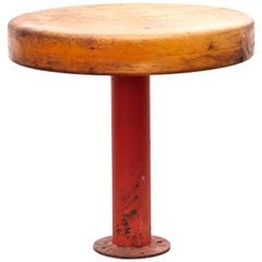 Rare Charlotte Perriand Red Lacquered Metal and Wood Stool for Les Arcs