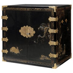 Rare Charming 17th Century Japanese Lacquer Cabinet with Gilt-Bronze Mounts