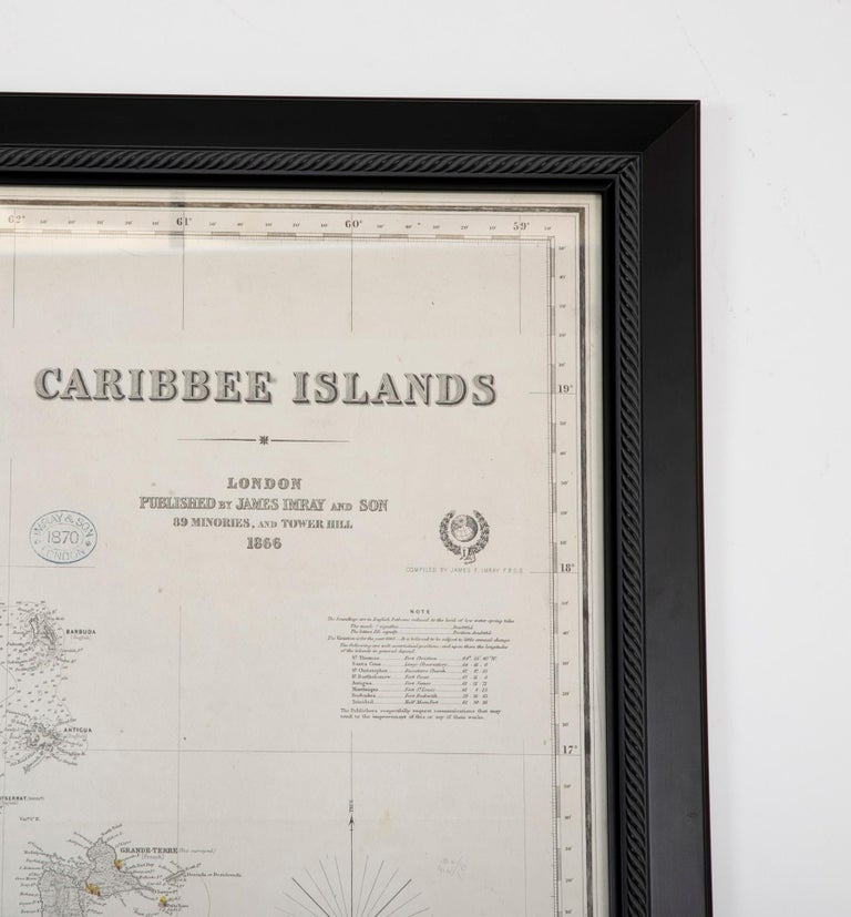 Rare Chart of the Caribbean Islands Published by James Imray & Son, London, 1866 For Sale 5