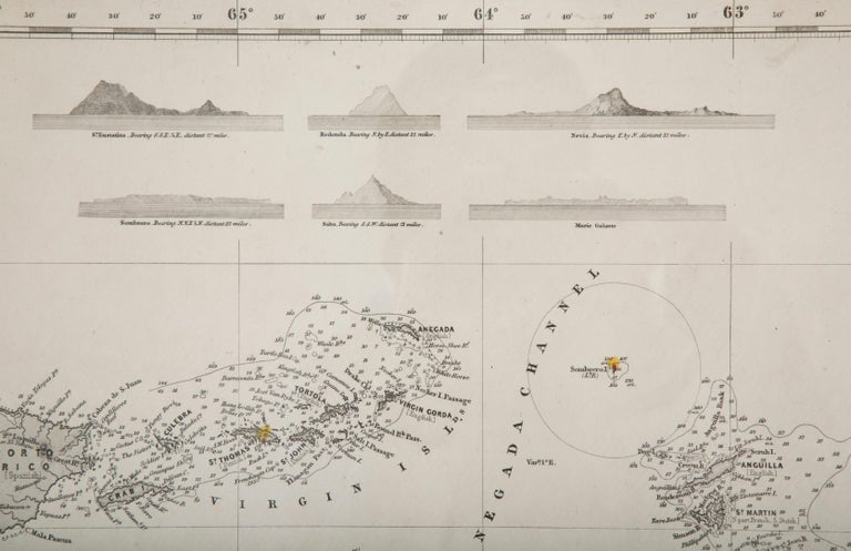 Rare chart of the Caribbean Islands published by James Imray & Son, London, 1866.  FW 1370.