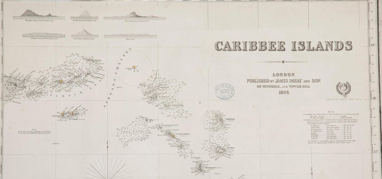 Folk Art Rare Chart of the Caribbean Islands Published by James Imray & Son, London, 1866 For Sale