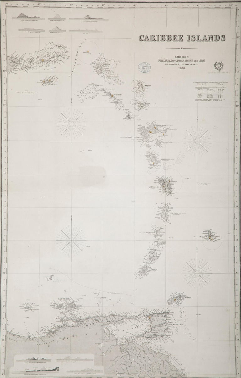 English Rare Chart of the Caribbean Islands Published by James Imray & Son, London, 1866 For Sale