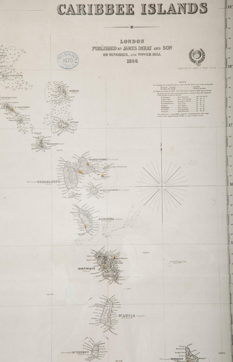 19th Century Rare Chart of the Caribbean Islands Published by James Imray & Son, London, 1866 For Sale