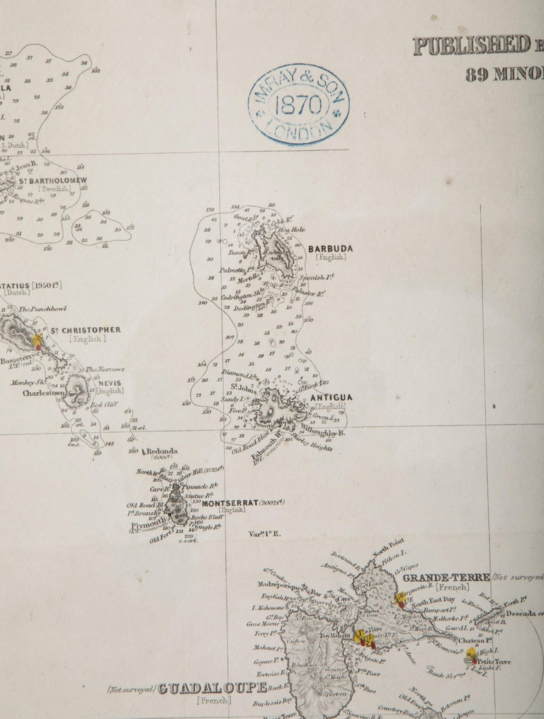Paper Rare Chart of the Caribbean Islands Published by James Imray & Son, London, 1866 For Sale