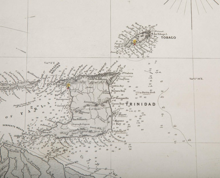 Rare Chart of the Caribbean Islands Published by James Imray & Son, London, 1866 For Sale 2