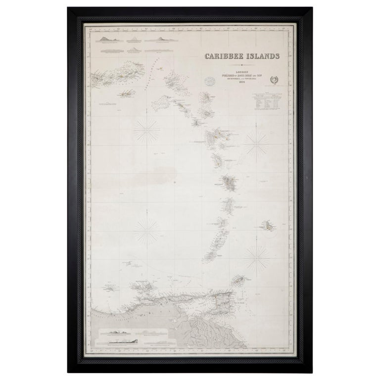 Rare Chart of the Caribbean Islands Published by James Imray & Son, London, 1866 For Sale