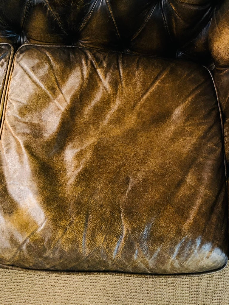 Rare Chesterfield Corner Couch Made of Real Thick Leather For Sale 9
