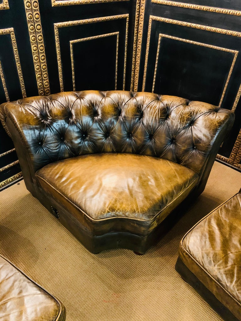 Rare Chesterfield Corner Couch Made of Real Thick Leather For Sale 12