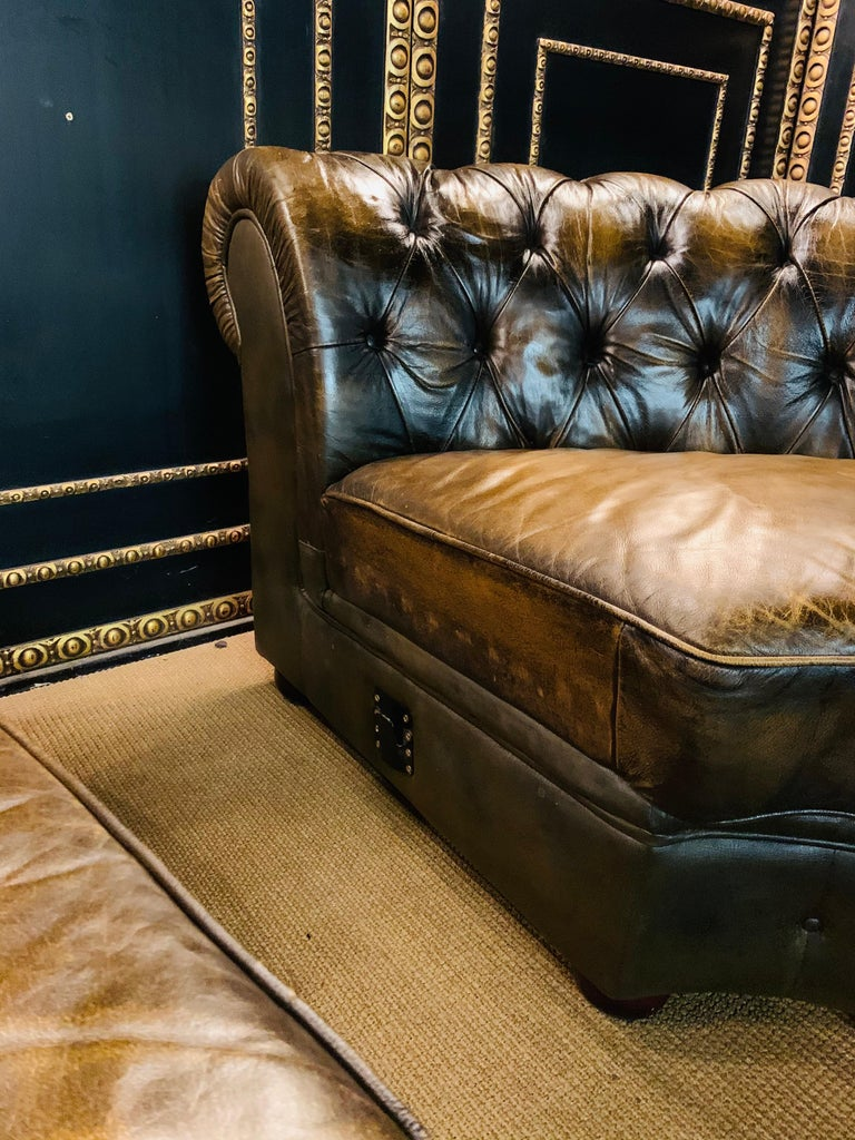 Rare Chesterfield Corner Couch Made of Real Thick Leather For Sale 13