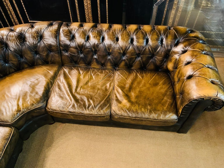 English Rare Chesterfield Corner Couch Made of Real Thick Leather For Sale